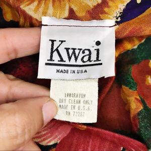 Vintage Tops - VINTAGE KWAI Red Fall Floral Blazer Shirt M